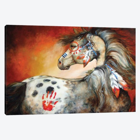 4 Feathers Indian War Pony Canvas Print #BDN3} by Marcia Baldwin Canvas Art