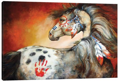 4 Feathers Indian War Pony by Marcia Baldwin Canvas Art Print