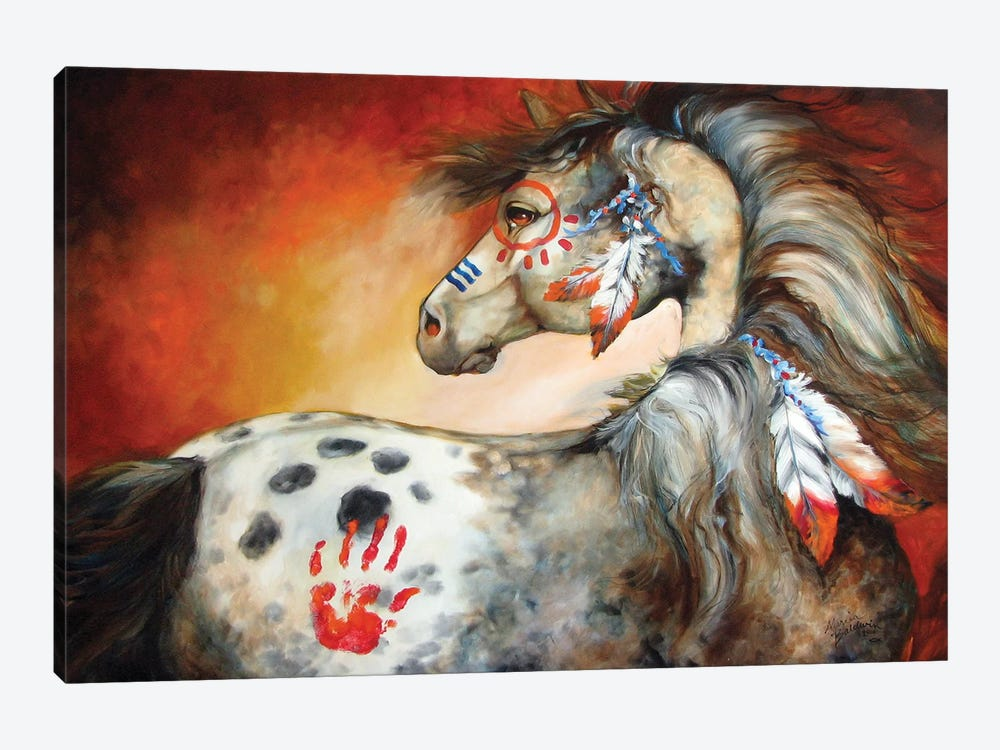 4 Feathers Indian War Pony by Marcia Baldwin 1-piece Canvas Art Print
