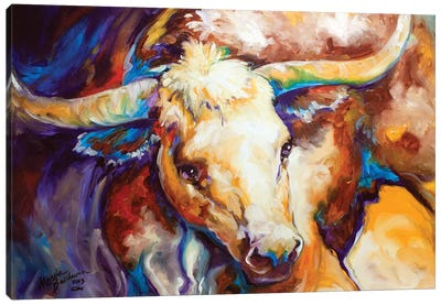 Power Longhorn Abstract Canvas Art Print