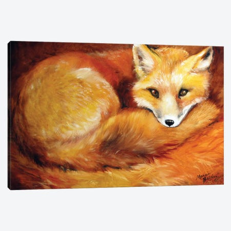 Red Fox Den Canvas Print #BDN48} by Marcia Baldwin Canvas Art