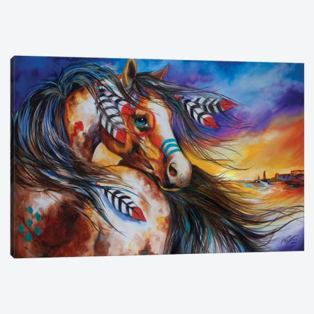 5 Feathers Indian War Horse Canvas Print #BDN4} by Marcia Baldwin Canvas Art Print