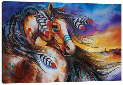 5 Feathers Indian War Horse Canvas Art Print