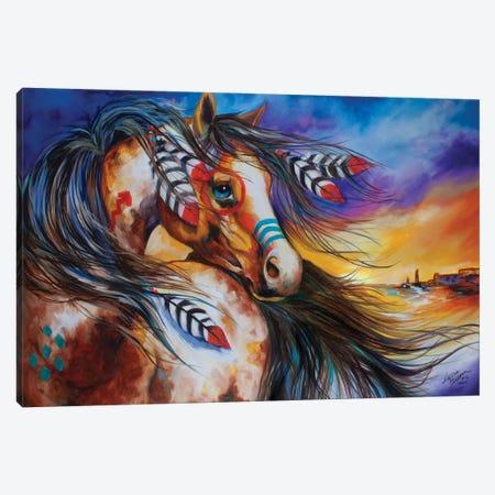 5 Feathers Indian War Horse Canvas Print #BDN4} by Marcia Baldwin Canvas Art Print