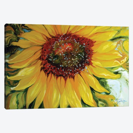 Sundown Sunflower Canvas Print #BDN54} by Marcia Baldwin Canvas Wall Art