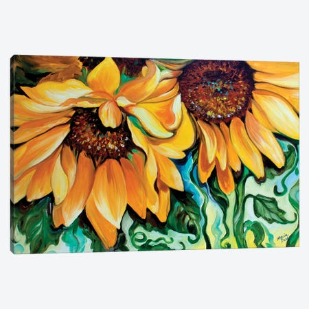 Sunflower Dance Canvas Print #BDN56} by Marcia Baldwin Canvas Wall Art