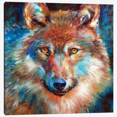 Timber Wolf Abstract Canvas Print #BDN67} by Marcia Baldwin Canvas Print