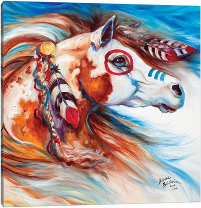 Wind Of Thunder Indian War Horse by Marcia Baldwin Canvas Art Print