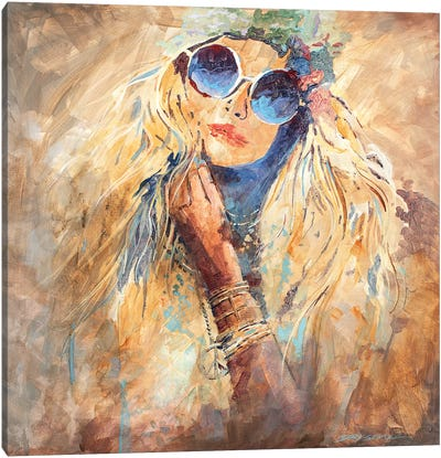 Hippie Girl Canvas Art Print