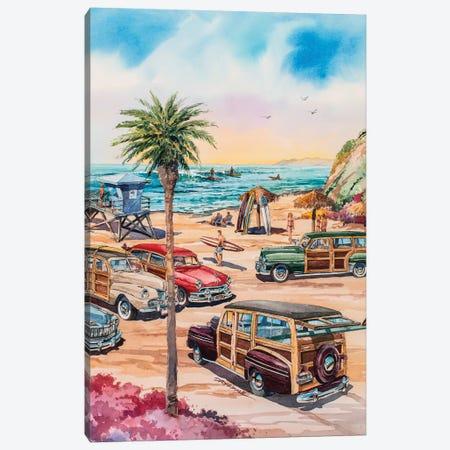 Moonlight Beach Woodies Canvas Print #BDR32} by Bill Drysdale Art Print