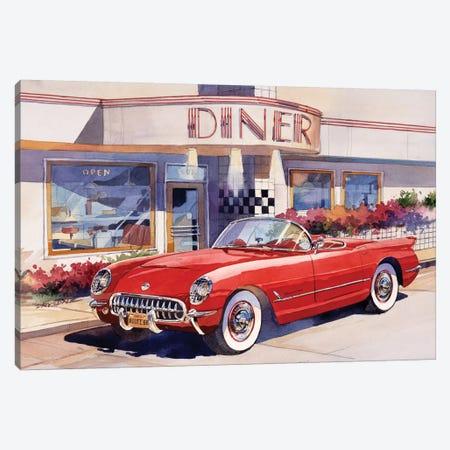 Red Corvette 3-Piece Canvas #BDR38} by Bill Drysdale Art Print