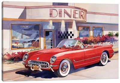 Red Corvette Canvas Art Print