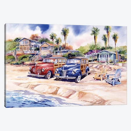 Two Woodies At Crystal Cove Canvas Print #BDR56} by Bill Drysdale Canvas Artwork