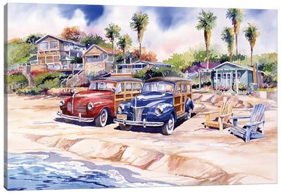 Two Woodies At Crystal Cove Canvas Art Print