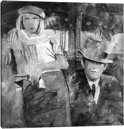 Bonnie And Clyde In Black And White Canvas Art Print