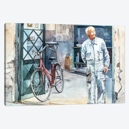 Bicycle Repairman Canvas Print #BDR60} by Bill Drysdale Canvas Art