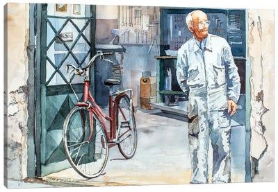 Bicycle Repairman Canvas Art Print