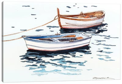 Vernazza Boats Canvas Art Print