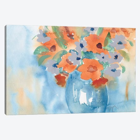 Orange Blue Bouquet Canvas Print #BDY1} by Beverly Dyer Canvas Artwork