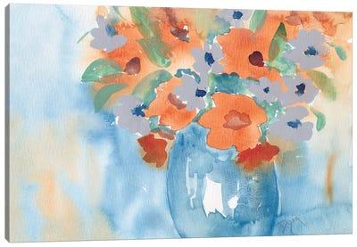 Orange Blue Bouquet Canvas Art Print