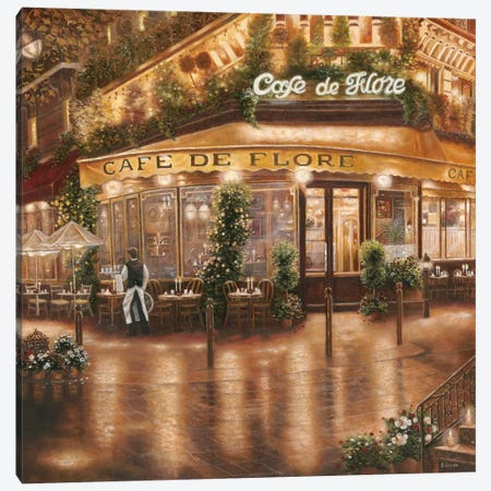 Café de Flore Canvas Print #BEB1} by Betsy Brown Canvas Art Print
