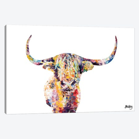 Highland Cow Canvas Print #BEC24} by Becksy Art Print