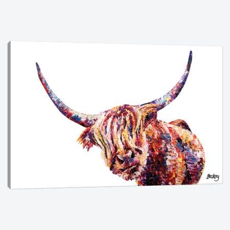 Olivia's Highland Cow Canvas Print #BEC32} by Becksy Canvas Print