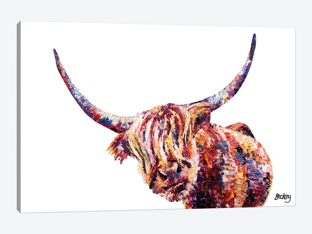 Olivia's Highland Cow by Becksy 1-piece Canvas Print