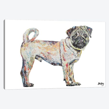 Pug Canvas Print #BEC35} by Becksy Canvas Wall Art