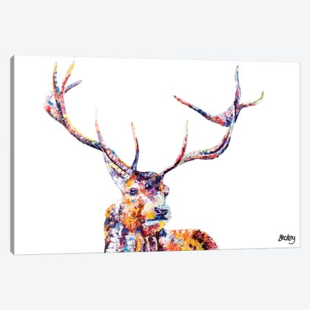 Red Stag Canvas Print #BEC37} by Becksy Canvas Wall Art