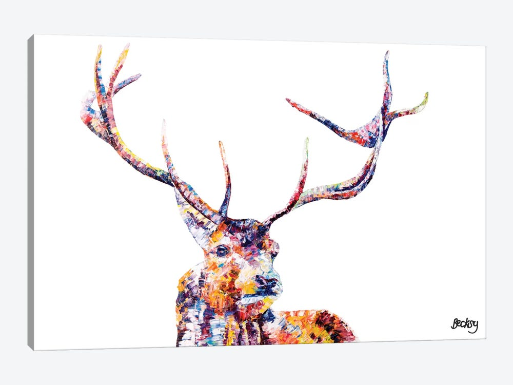 Red Stag by Becksy 1-piece Canvas Artwork