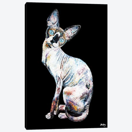 Larry, Black Background Canvas Print #BEC56} by Becksy Canvas Art