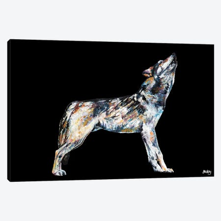 Mishka, Black Background Canvas Print #BEC57} by Becksy Canvas Wall Art