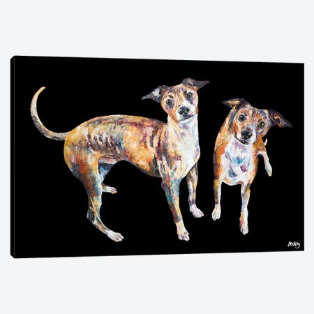 Paco & Rico, Black Background Canvas Print #BEC58} by Becksy Canvas Art Print