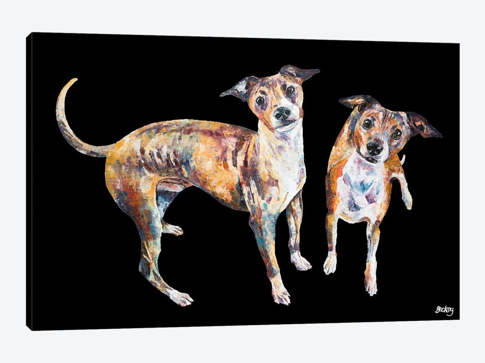 Paco & Rico, Black Background 1-piece Canvas Print