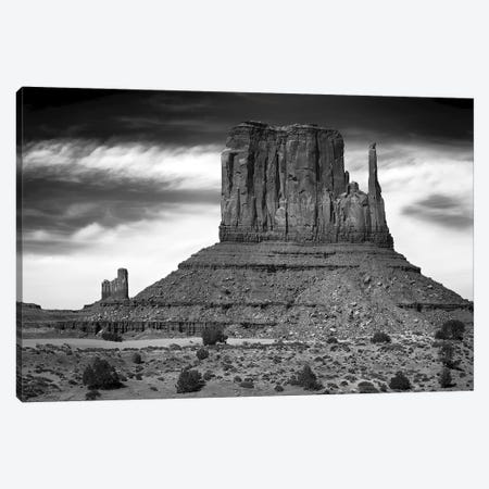 West Mitten Butte And Stagecoach In B&W, Monument Valley, Navajo Nation, USA Canvas Print #BED1} by Petr Bednarik Art Print