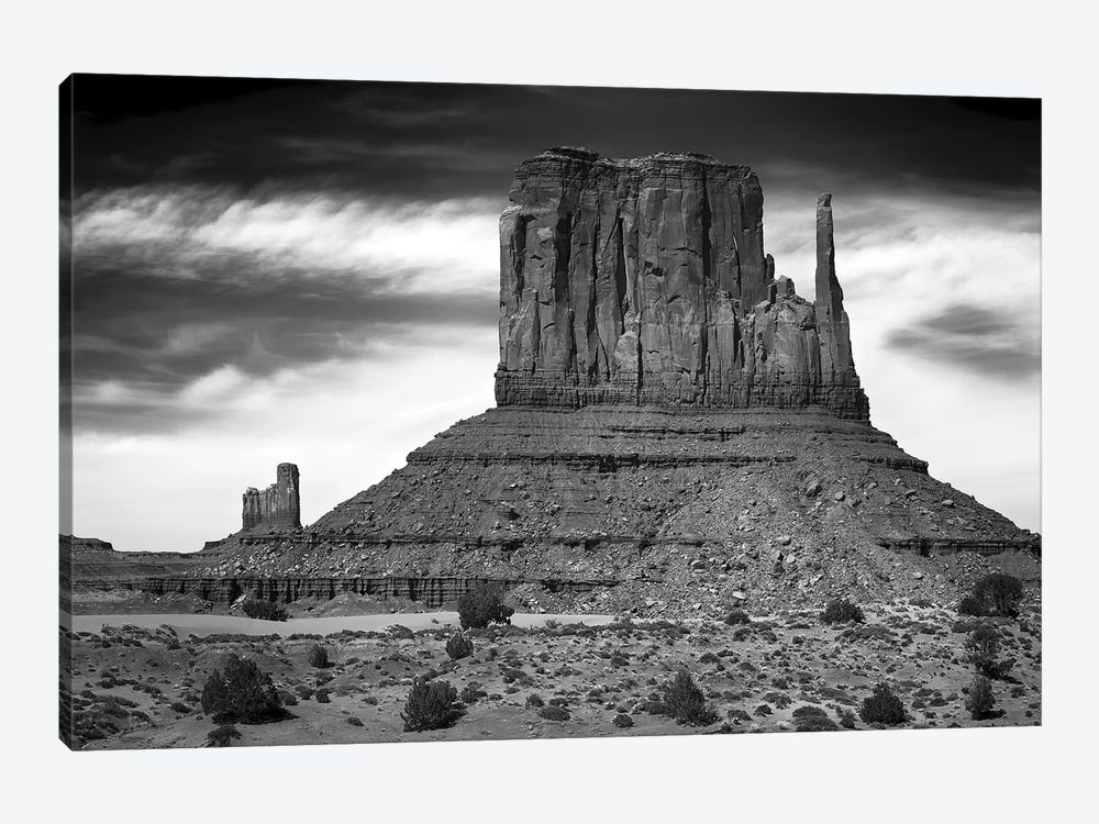 West Mitten Butte And Stagecoach In B&W, Monument Valley, Navajo Nation, USA by Petr Bednarik 1-piece Canvas Artwork