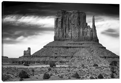 West Mitten Butte And Stagecoach In B&W, Monument Valley, Navajo Nation, USA Canvas Art Print
