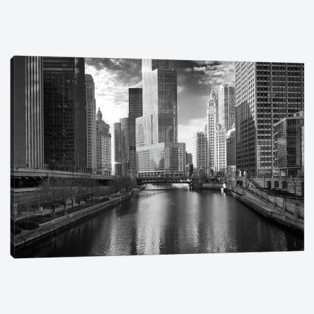 Riverfront Architecture In B&W, Chicago, Illinois, USA Canvas Print #BED2} by Petr Bednarik Canvas Art Print