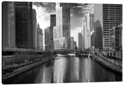 Riverfront Architecture In B&W, Chicago, Illinois, USA Canvas Print #BED2