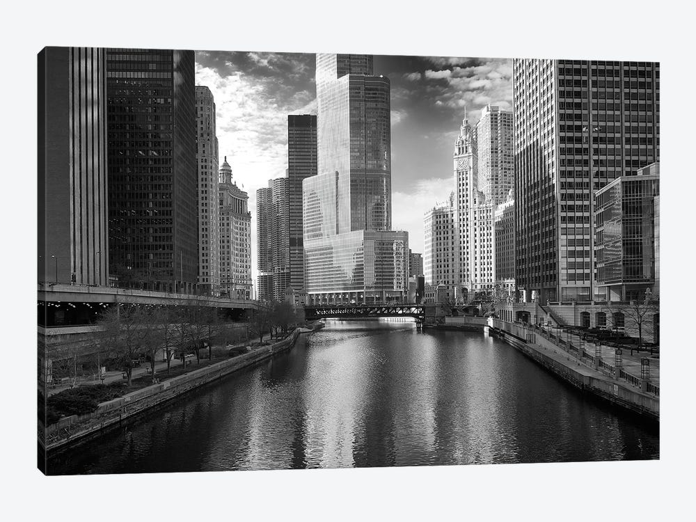 Riverfront Architecture In B&W, Chicago, Illinois, USA 1-piece Canvas Art Print