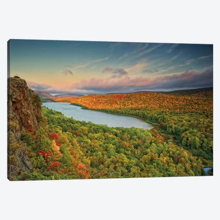 Autumn Evening Landscape, Lake Of The Clouds, Ontonagon County, Upper Peninsula, Michigan, USA Canvas Print #BED4} by Petr Bednarik Canvas Artwork