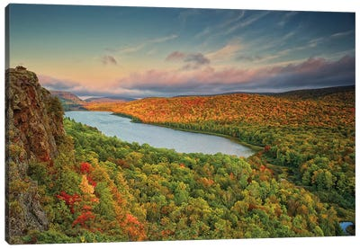 Autumn Evening Landscape, Lake Of The Clouds, Ontonagon County, Upper Peninsula, Michigan, USA Canvas Art Print