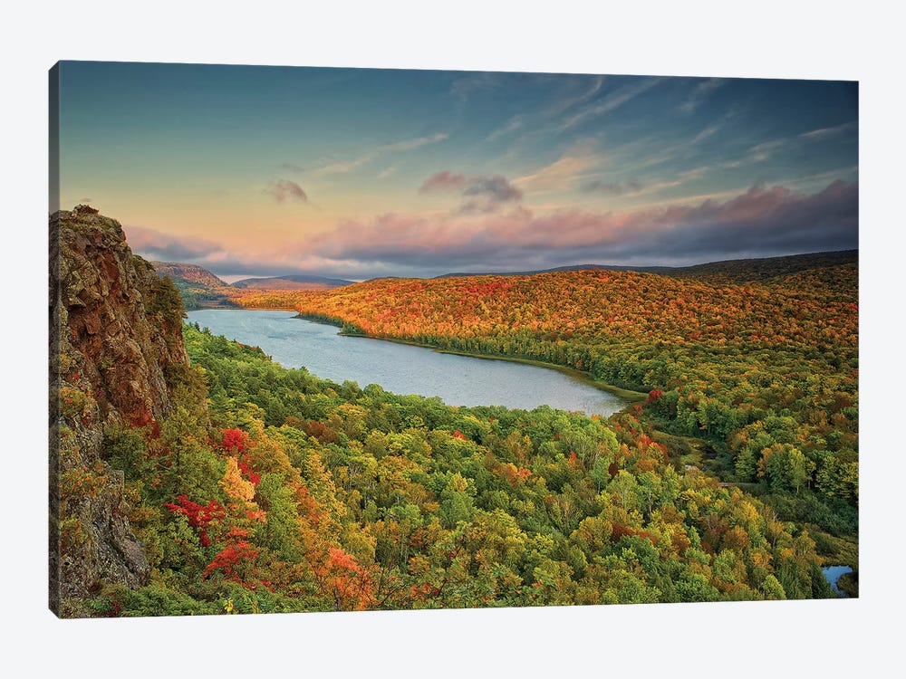 Autumn Evening Landscape, Lake Of The Clouds, Ontonagon County, Upper Peninsula, Michigan, USA by Petr Bednarik 1-piece Canvas Print