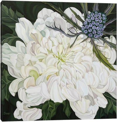 Chrysanthemum With Christmas Thistle Canvas Art Print
