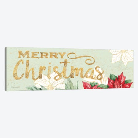 Watercolor Poinsettia Merry Christmas Canvas Print #BEG103} by Beth Grove Canvas Wall Art
