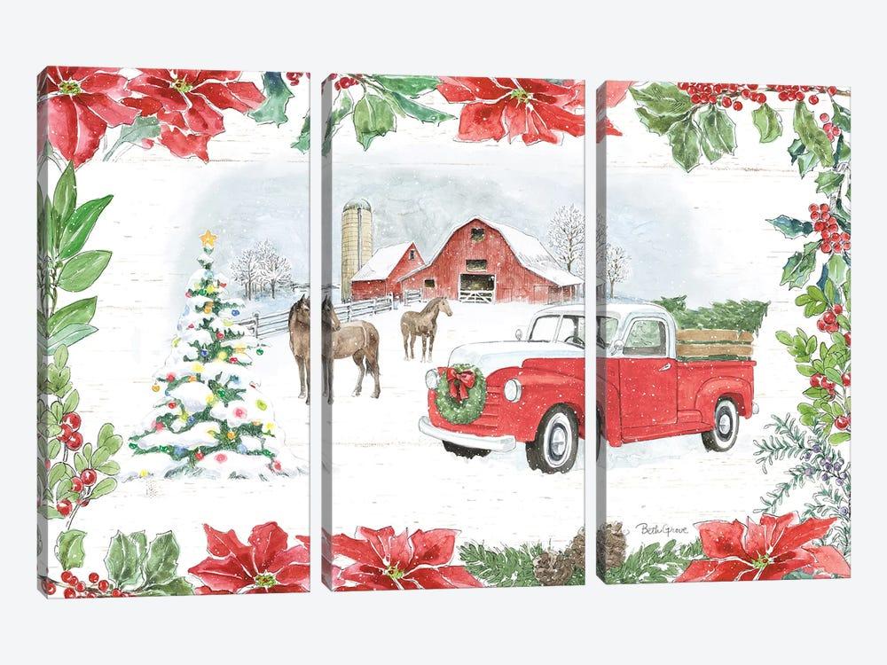 Farmhouse Holidays I by Beth Grove 3-piece Canvas Artwork