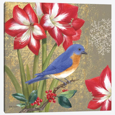 Winter Birds Bluebird Collage Canvas Print #BEG116} by Beth Grove Canvas Artwork