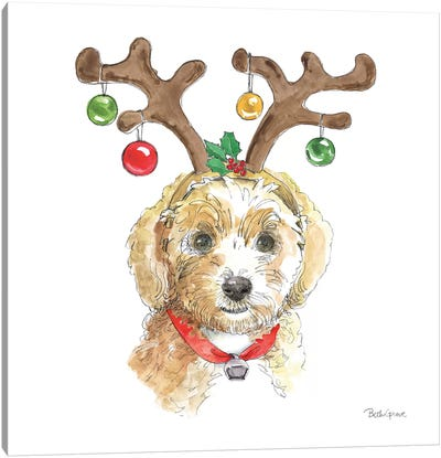 Holiday Paws VI on White Canvas Art Print