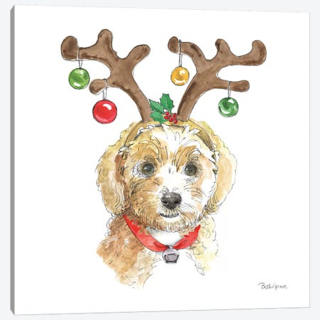 Holiday Paws VI on White Canvas Print #BEG137} by Beth Grove Canvas Wall Art